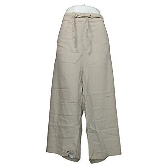 Denim &co. kvinners pluss bukser naturals vanlig linavling beige A377306
