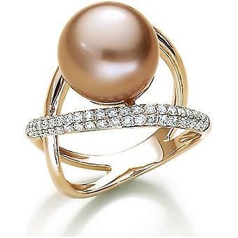 Luna-Pearls Freshwater Pearl Ring 750/- Rose Gold 67 Brill. 0,71ct. Gr 56 (17.8mm)
