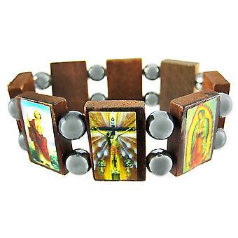 Wooden & Hematite Bead Christian Stretch Bracelet
