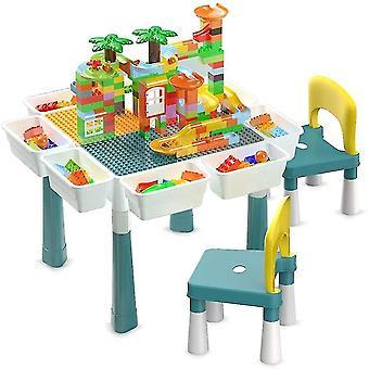 שולחנות מים שולחן פעילות לילדים מרובים סט 2 כיסאות 400 חלקים אבני בניין 4 תיבות אחסון בצעי