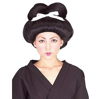 Geisha Asian Japanese Entertainer Oriental Black Bun Women Costume Wig