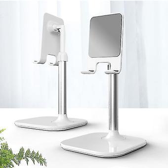 Skandinavisk stil speglad legering justerbar skrivbord mobiltelefonhållare och stativ (Vit)
