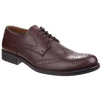 Fleet & Foster Tom Mens Läder Oxford Brogue Skor Brun
