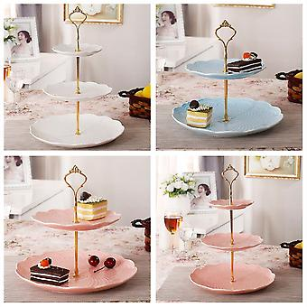 3 Tier Hardware Crown Cake Plate Stand Handle Fitting Wedding Party Gold