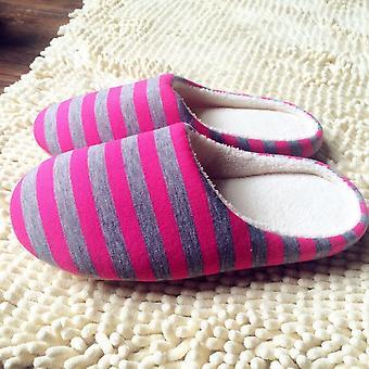Winter warme zachte pluche indoor home floor antislip slippers gestreepte doek