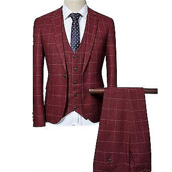 Seeunique Herren 3-teiliger Slim Check Check Anzug Einreihiger Retro Anzug (Blazer + Weste + Hose)