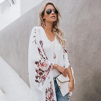 Kvinner Boho Floral Kimono Chiffon Sommerstrand Dekke Opp Topp Løs Outwear