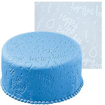 Silicon Happy Birthday Embossing Icing Decoration Mat