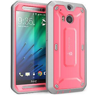 HTC One M8 fall, SUPCASE, HTC One M8 Unicorn Beetle PRO serien Full body robust Hybrid skyddande fall-rosa/grå