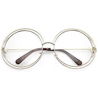 女性の大型ワイヤー フレーム クリアレンズ ラウンド眼鏡 62 mm