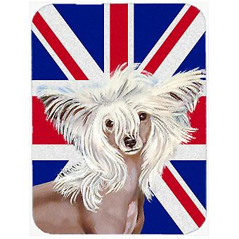 Chinese Crested with English Union Jack British Flag Glass Cutting Board Large S