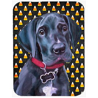 Black Great Dane Puppy Candy Corn Halloween Glass Cutting Board Large
