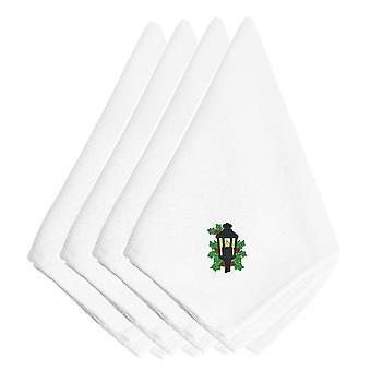 キャロラインズ宝物 EMBT2987NPKE クリスマス ランタン刺繍ナプキン 4 枚セット