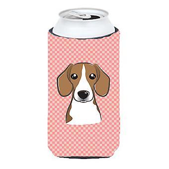 Checkerboard Pink Beagle Tall Boy Beverage Insulator Hugger