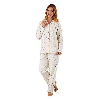 Slenderella PJ8213 kvinners Cream blomster børstet bomull pyjamas langermet Pyjama sett