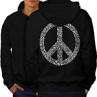 Peace Hippy Vintage Men BlackHoodie Back | Wellcoda