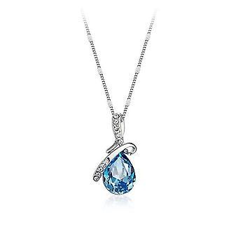 Sky BlueTeardrop Womens hänge halsband kristall stenar Ribbon smycken