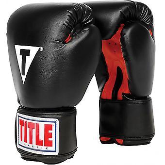 Titel boksen klassieke haak en lus Vinyl-Training bokshandschoenen - zwart/rood