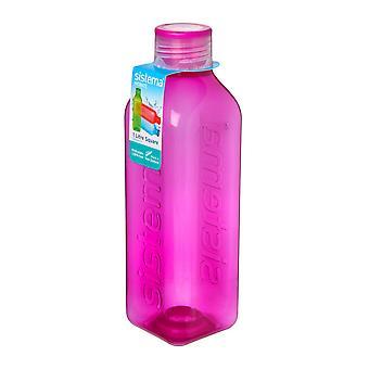 Sistema-Hydrat 1L quadratische Trinkflasche, rosa
