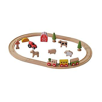 Everearth 25 Piece Wooden Farm Train Set