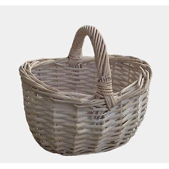 Shopper branca pequena de cesta de compras