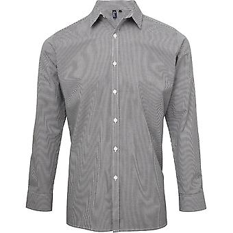 Premier Mens Gingham Microcheck Cotton Long Sleeve Corporate Shirt