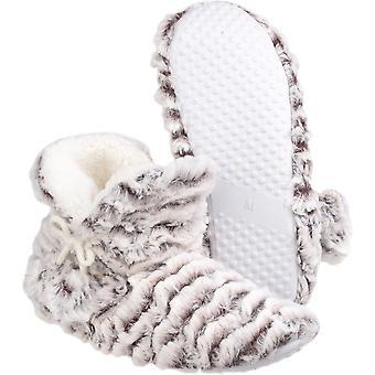 Divaz Womens/Ladies Paris Textile Faux Fur Fleece Bootie Slippers