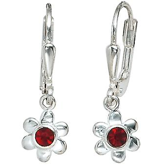 Boutons flower 925 sterling silver 2 red glass earrings kids