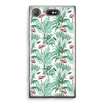 Sony Xperia XZ1 Compact Transparant cas (doux) - feuilles Flamingo