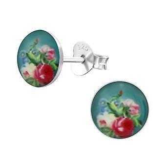Rose-925 Sterling hopea värikkäät korva napit-W24455X