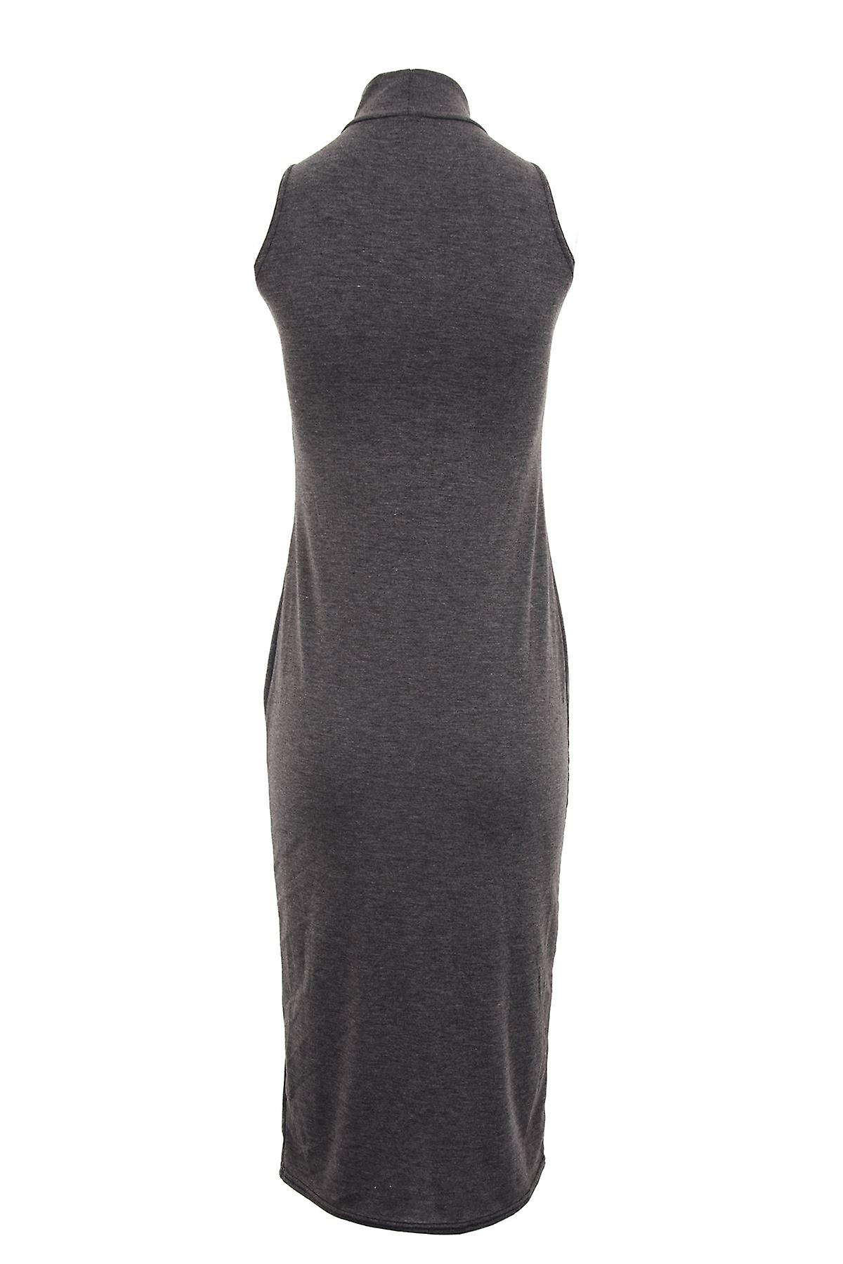 Ladies Sleeveless Plain Maxi Full Length Turtle Neck Womens Dress