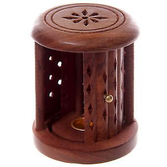 Sheesham Wood Carved Barrel Incense Cone Burner with Door