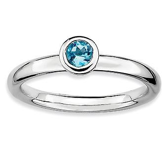 """925 סטרלינג כסף לוח מלוטש מוערם ביטויים נמוך 4 מ""""מ עגול כחול טופז טבעת מתנות תכשיטים לנשים - טבעת Si"""