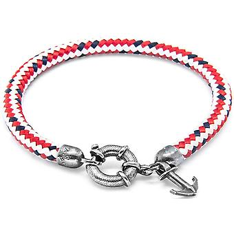 Anchor and Crew Salcombe Silver and Rope Bracelet - Red Dash