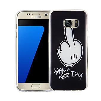 Custodia porta cellulare per motivi di borsa custodia protettiva cover Samsung Galaxy S7 slim TPU + armatura protezione vetro H 9 dito medio