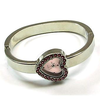Olivia samling Silver Tone Cz Pink Heart ekstern Ladies kle Bangle se