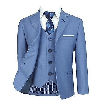 Men's & Boys Matching Blue Jay Slim Fit Formal Suit