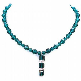 Emerald Crystal pyöreä helmi aito Swarovski Crystal kaulakoru hienostunut lahja