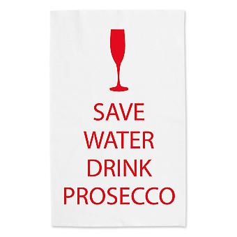 Save Water Drink Prosecco White Tea Towel Red Text