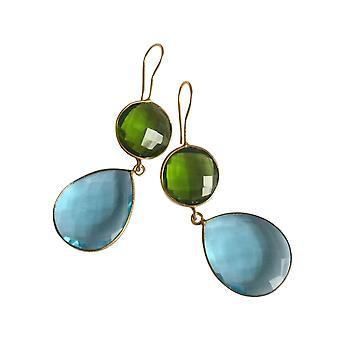 Gemshine korva korut Blue Topaz ja Peridot tippaa 925 hopea tai kullattu