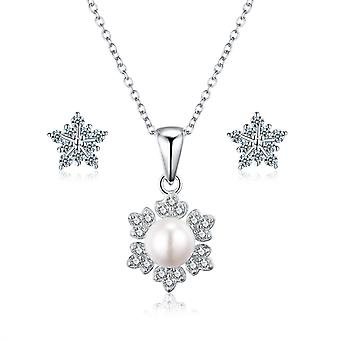 925 Sterling Silver Snowflake Pearl Necklace & Stud Earring Set