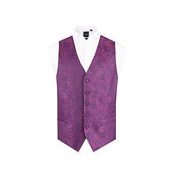 Dobell Mens Purple Paisley Waistcoat Regular Fit 5 Button Wedding