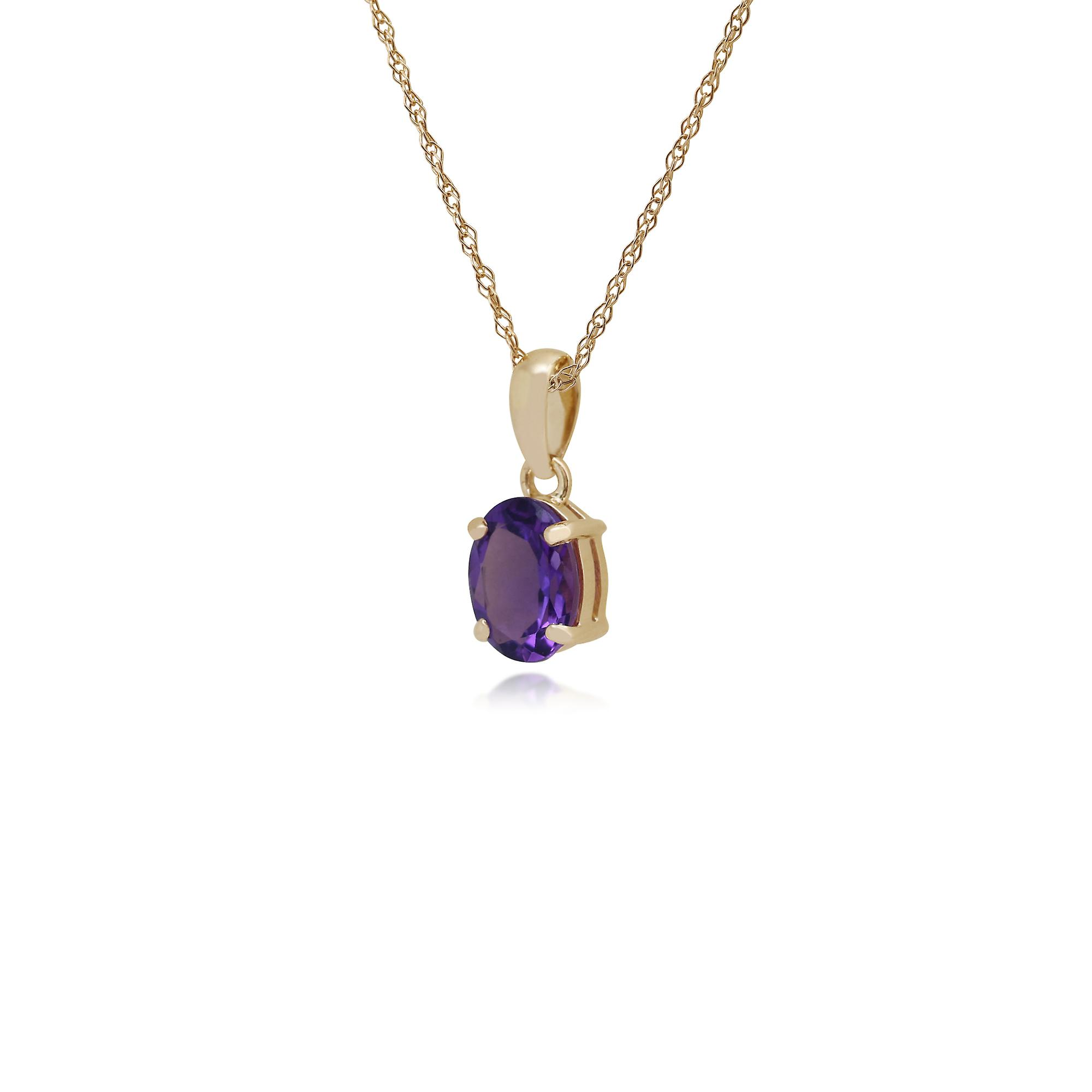 9ct Yellow Gold 0.99ct 4 Claw Set Amethyst Classic Oval Pendant on Chain