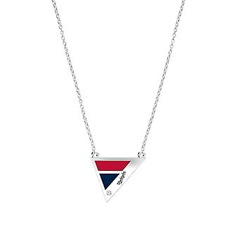 Washington Nationals Engraved Sterling Silver Diamond Geometric Necklace In Red & Blue