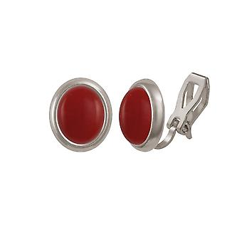 Ewige Sammlung Menuett rot Quarz Cabochon Silberfarbe Stud-Clip auf Ohrringe