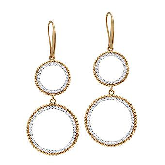 Eternal Collection Cairo Clear Crystal Circular Gold Tone Drop Pierced Earrings