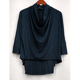 Kate & Mallory top 3/4 mouw Cowl hals Hi-Low brei top Teal blauw A428296