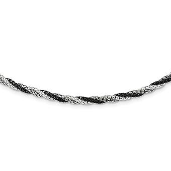 925 Sterling Silver Twisted Black rhodium Rhodium plated Fancy Lobster Closure Fancy 18 Inch Necklace 18 Inch Jewelry Gi