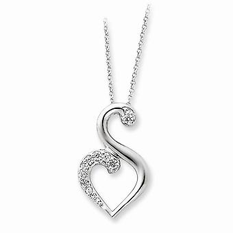 925 Sterling Silver Polished Spring Ring CZ Cubic Zirconia Simulated Diamond Necklace 18 Inch Jewelry Gifts for Women