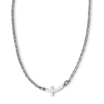 Edelstahl Fancy Hummer Verschluss poliert Seitwärts religiösen Glauben Kreuz 18 Zoll Halskette 18 Zoll Schmuck Geschenke für